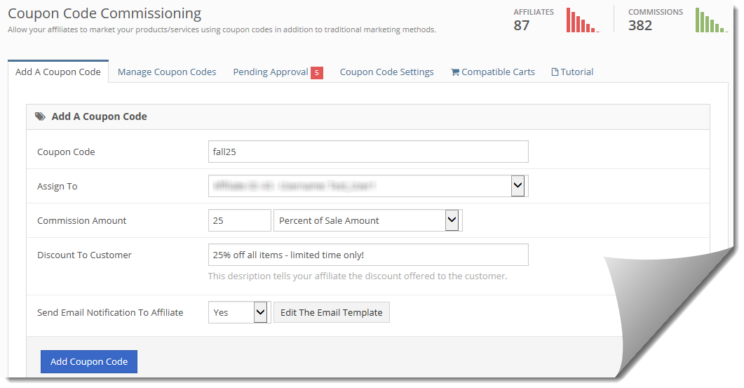 Coupon Code Commissioning With iDevAffiliate