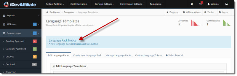 idevaffiliate language packs install