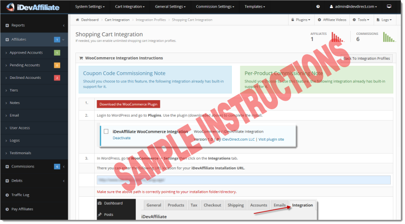 idevaffiliate cart integration instructions