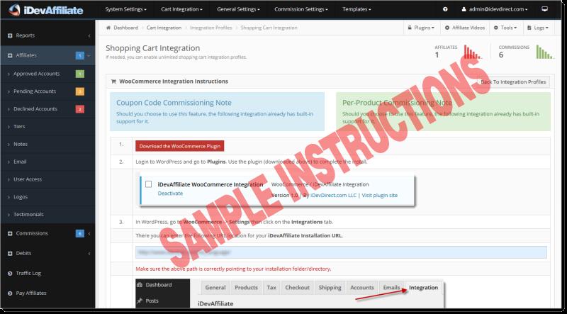 idevaffiliate cart integration instructions