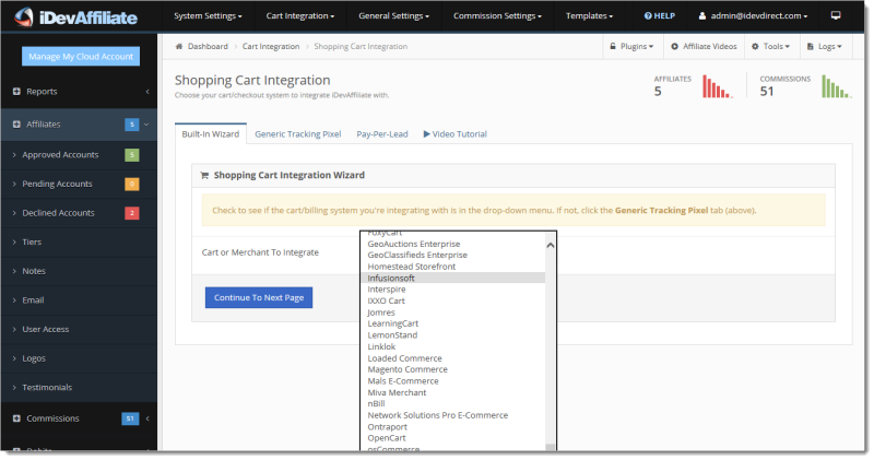 idevaffiliate shopping cart integration wizard