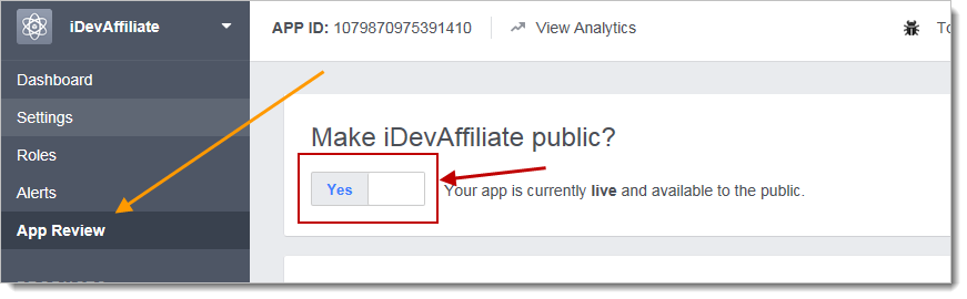idevaffiliate enable app for public